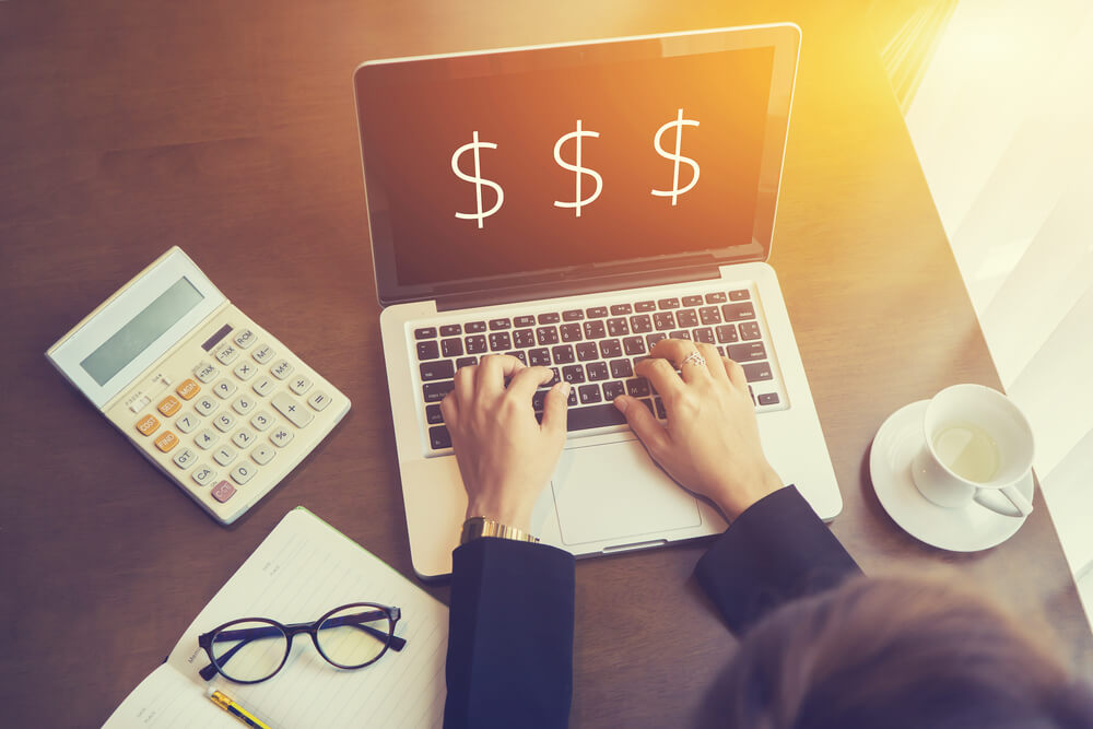 Using laptop to access personal business funding