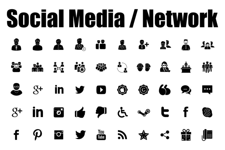 Social media networking icons examples.